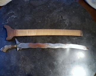 Antique Moro Kris Mindanao dagger/sword/knife w/ Scabbard