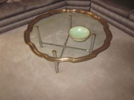 MCM GLASS WITH FRAMED BRASS ACCENT COFFEE TABLE