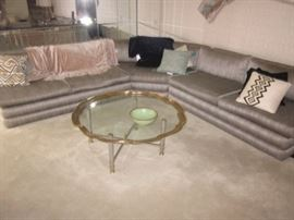 MCM GLASS WITH FRAMED BRASS ACCENT COFFEE TABLE STUNNING CUSTOM SECTIONAL SOFA'S TO CHOOSE FROM