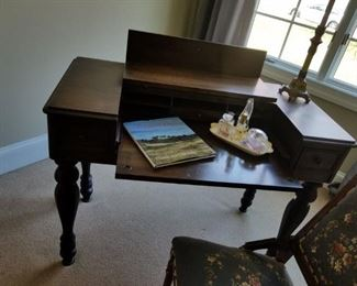 antique desk and needlepoint chair