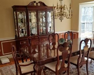 dining room set: table w/ 2 leaves & 8 upholstered chairs, lighted china cabinet and matching server/bar-flip top.  Can be sold separately. Mint condition. Stanley Furniture Company, American Heritage  Collection