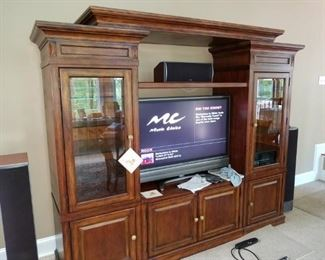 entertainment unit, 3 piece, can sell sides separately. Made by Mirador