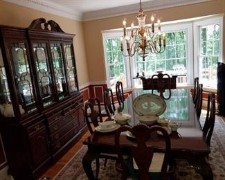 """Table measures: 100"""" long (w/ one 24"""" wide leaf-comes w/ 2 leaves) China cabinet measures: 72"""" long x 18"""" deep"""