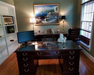 """Office desk & credenza by Hooker.  Desk measures 66"""" long x 32"""" deep. Credenza measures 72"""" long x 20"""" deep."""