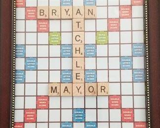 Bryan Atchley, Mayor, Framed Scrabble Board