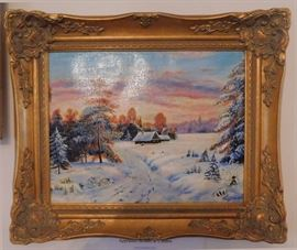 DSCN0156 JPG - - Vintage and collectible estate sale item, an artist signed Russian oil painting.