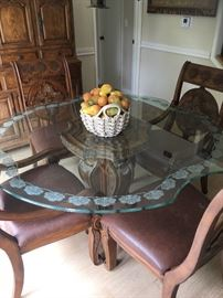 Glass top breakfast table and chairs