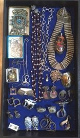 Sterling earrings, chains & cufflinks, vintage necklaces from India, artist-made earrings by Jo Marz, Marjorie Baer & more
