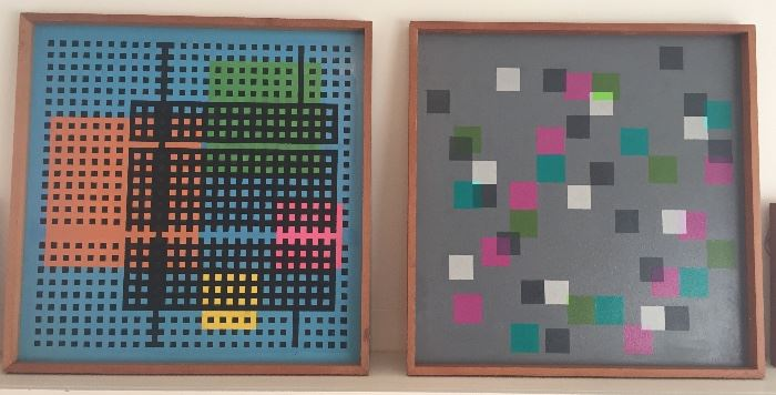 """1970s paintings on board by the professor (each 23"""" x 23"""")"""