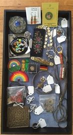 More jewelry & fun smalls - 1975 Bumbershoot rainbow badge, buttons from India & more