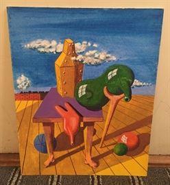 "Surrealist painting on board (16"" x 20"")"