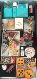 More smalls: Chanel No. 5, 4711 & other perfume, mini Steiff poodle, Schleich Smurf, Super Dictator mechanical pencil, giant dice, tiny building block set & more