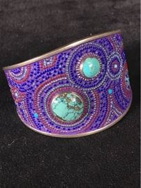 Ch001 Sterling  Turquoise Cuff Mosaic