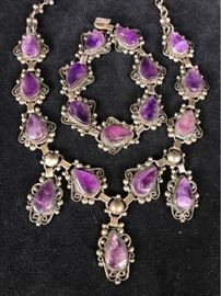 Jc013 AJM Sterling Amethyst Necklace  Bracelet