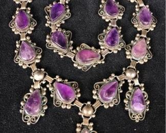 Jc013 AJM Sterling Amethyst Necklace  Bracelet