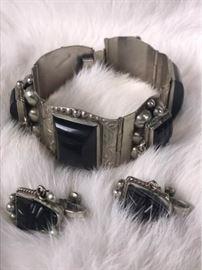 Jc014 Sterling  Onyx Taxco Bracelet Earrings