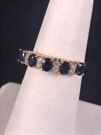 14Kt Sapphire and Diamonds