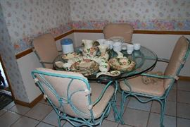 Glass Top Dinette Set with 4 Chairs