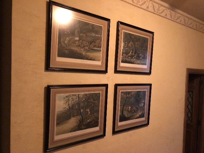 set of 4 Antique hunt prints