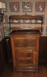 antique oak ice box (opens on top and from front)