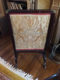 Antique fire screen with tapestry cloth