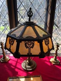 Antique panel glass lamp