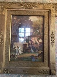Large antique print (notice the dragonfly on the bottom of the frame)