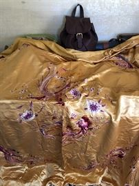 Antique Chinese silk piano shawl or bed cover