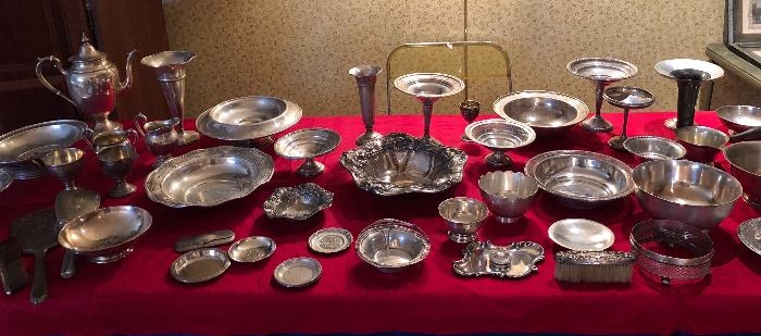 Almost 2 tables full of beautiful antique & vintage sterling silver! This is a picture of only 1 of the tables!