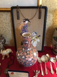 Japanese vase & great 1 of a pair of Japanese pictures