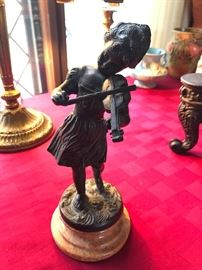 signed Farbel bronze girl playing violin