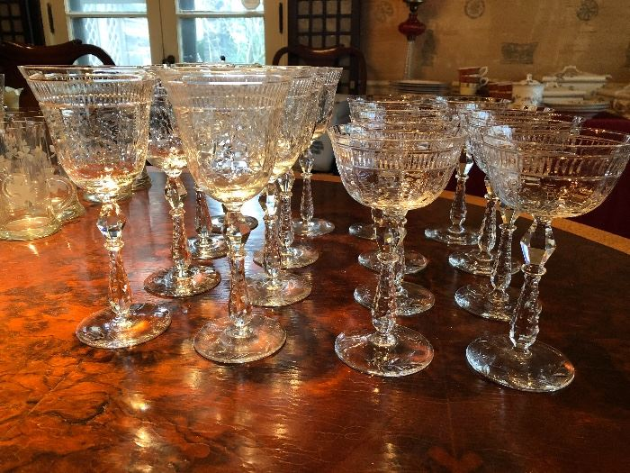 Lovely etched stemware possibly Pairpoint