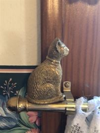 brass cat finial to curtains set (1 long window & 1 narrow window)
