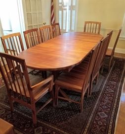 "Amazing  mid-century solid Teak (unstained) dining table and eight (8) matching chairs.  Custom made, all one piece (no leaves), measures 103"" long!"