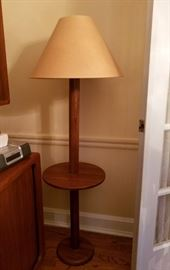 "Teak (Danish) floor lamp with round table top; contemporary hard shade.  57"" tall, 15"" wide."