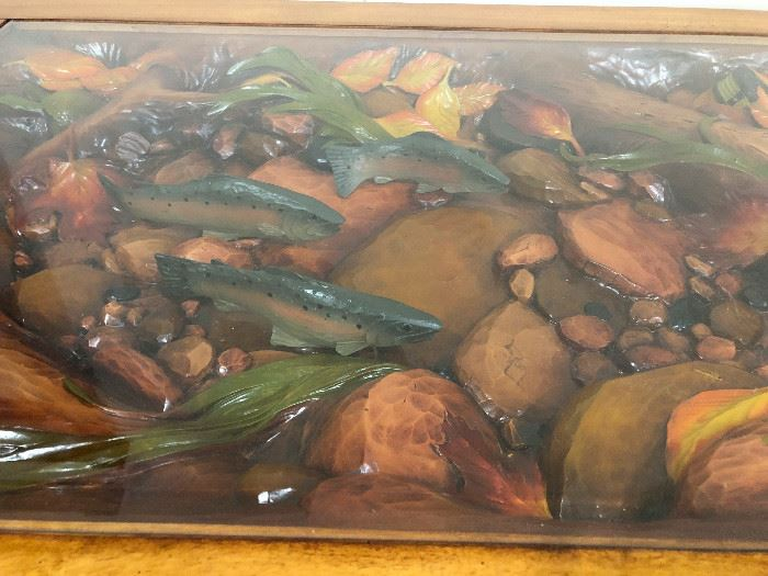 Close up of Coffee Table Carving , Creek bed with fishies!! Photo does not do it justice! There is no JUSTICE for the carving!