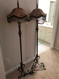 Mouline Rouge floor lamps with beaded shades