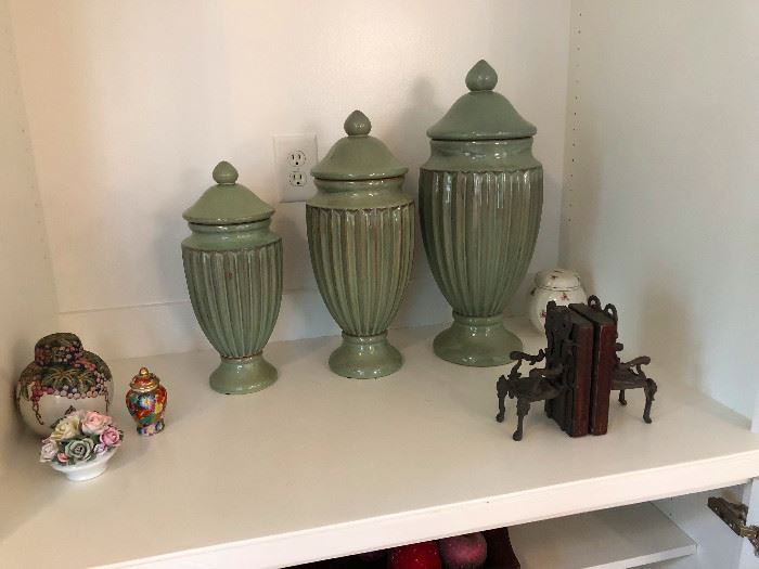 Urns -- appropriate for containing the ashes of deceased pets or maybe just cookies