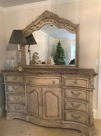 Fancy French Provincial style dresser with mirror! You could be Marie Antoinette only not headless!