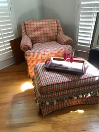 Upholstered chair and ottoman -- MeeMaw style with tassels and everything!