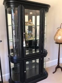 black lacquer curved glass display cabinet. Need stuff to display! Buy them here!