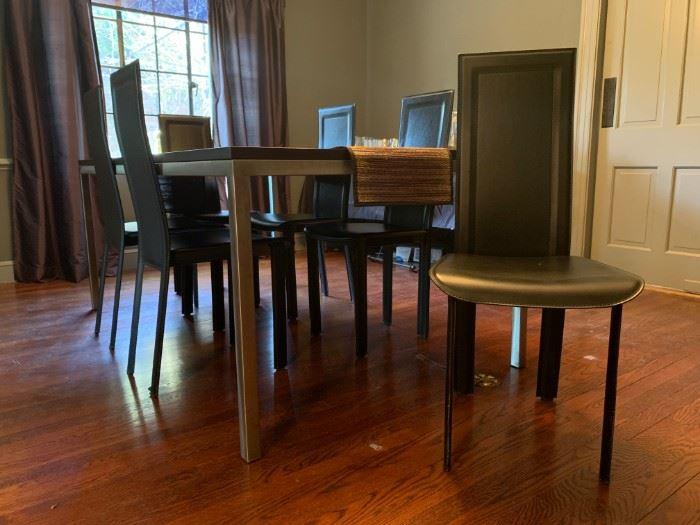 Ebonized Wood Table with Polished Nickle Base
