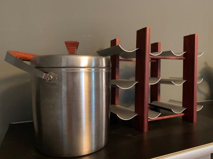 Vintage West Bend Ice Bucket, Wine Rack