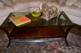 Glass top w/wonderful inlay wooden shelf