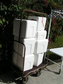 styrofoam coolers and rolling  hotel cart