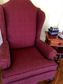 and...Chairs Galore!...Nice Cranberry Wingback...