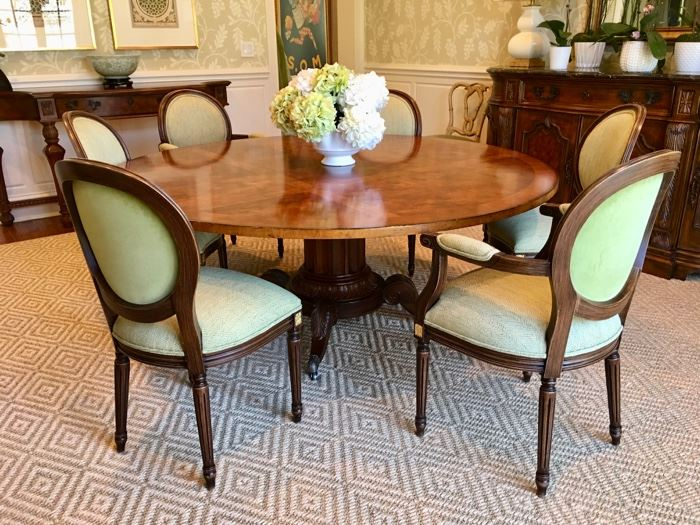 """Century """"Norfolk"""" 72"""" round dining table. 6 Louis-XVI-style dining chairs. Please note:  rug not for sale"""
