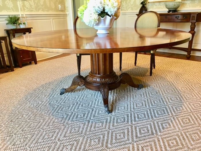 """Century """"Norfolk"""" round dining table. Please note: rug not for sale."""