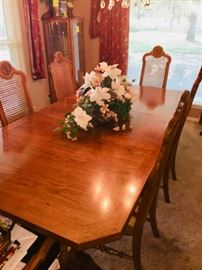 Dining Room Set  Perfect Condition Cane back chairs and 2 leaves