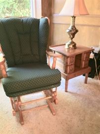 Cushioned Slide Rocker - Very Clean 2 matching end table and Stiffel Brass Lamp